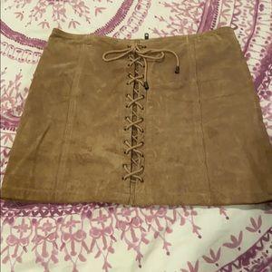 Tan suede corseted mini skirt
